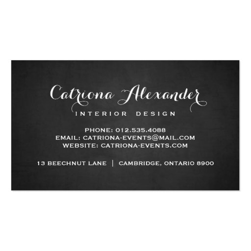 Whimsical Script Chalkboard Business Card (back side)