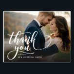 """Whimsical Script Full Photo Wedding Thank You Postcard<br><div class=""""desc"""">This stylish thank you postcard highlights your photo by pairing it with whimsical and romantic modern calligraphy script. Simply add your photos and the details of your big day using the template provided. Please visit our shop to see more designs like this</div>"""
