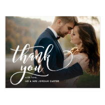 Whimsical Script Full Photo Wedding Thank You Postcard