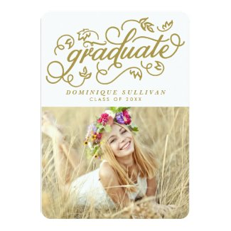 Whimsical Script | Gold Photo Graduation Card