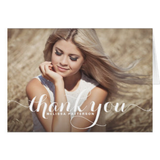 Whimsical Script Graduation Thank You Card