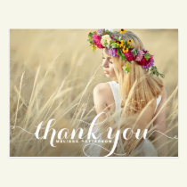 Whimsical Script Graduation Thank You Postcard