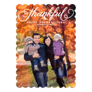 Whimsical Script Happy Thanksgiving Photo Card
