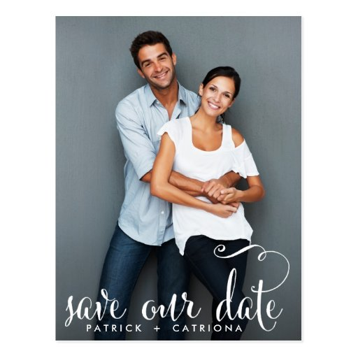 WHIMSICAL SCRIPT PHOTO SAVE OUR DATE POSTCARD