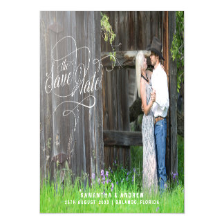 Whimsical Script Wedding Photo Save The Date Magnetic Card