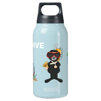 Whimsical Scuba Diver Insulated Water Bottle