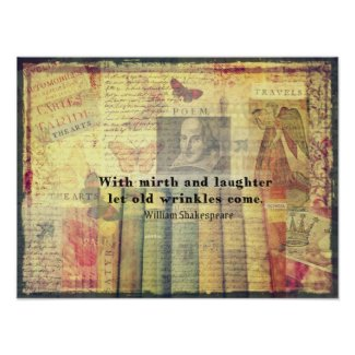 Whimsical Shakespeare happiness quote art print