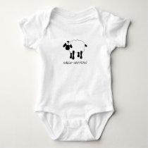 Whimsical Sheep Baby Bodysuit - White