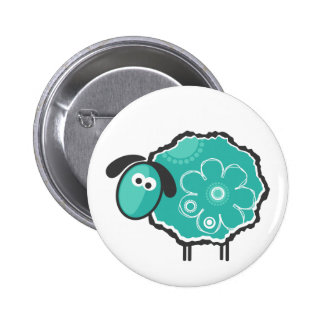 Whimsical Sheep Pinback Button