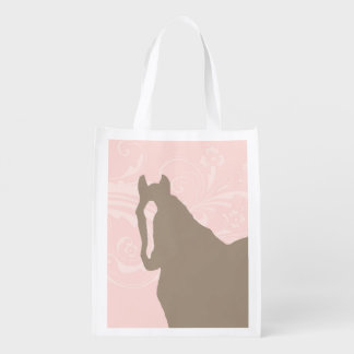 Whimsical Show Pony Horse Pattern Reusable Grocery Bag