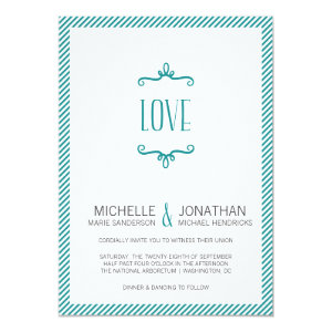 Whimsical Simple Wedding 5x7 Paper Invitation Card