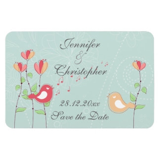 Whimsical Singing Birds with Flowers Save the Date Rectangle Magnet