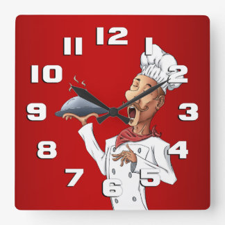 Whimsical Singing Chef Square Wall Clock