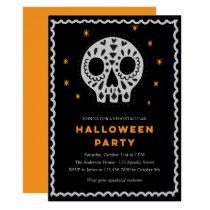 Whimsical Skull Halloween Party Invitation