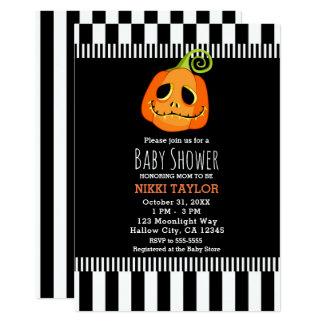 Whimsical Smiley Pumpkin Halloween Baby Shower Card