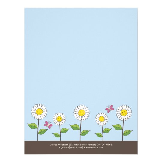 Whimsical Smiling Flowers and Butterfly Letterhead