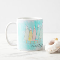 Whimsical Snow Capped Tree Modern Winter Christmas Coffee Mug