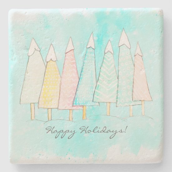 Whimsical Snow Capped Tree Modern Winter Christmas Stone Coaster