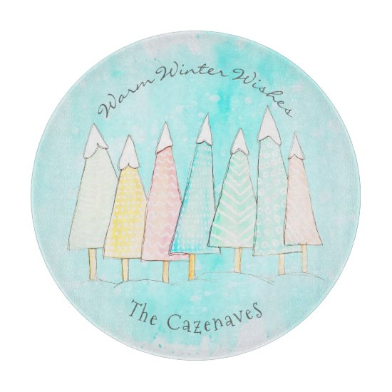 Whimsical Snow Capped Trees Modern Winter Holiday Cutting Board