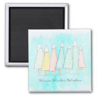 Whimsical Snow Capped Trees Modern Winter Holiday Magnet