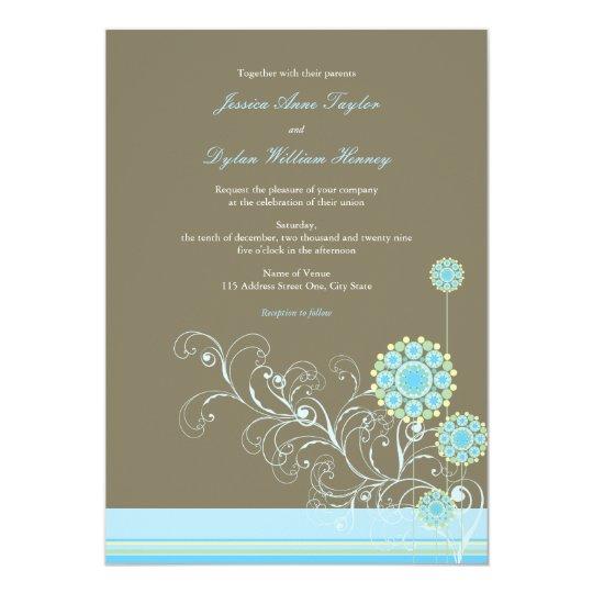 Whimsical Snow Flower Swirls Blue Wedding Invite