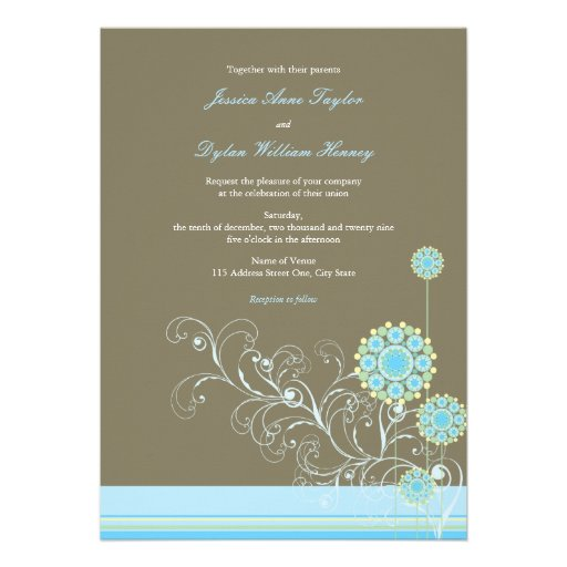 Whimsical Snow Flower Swirls Blue Wedding Invite Personalized Announcement