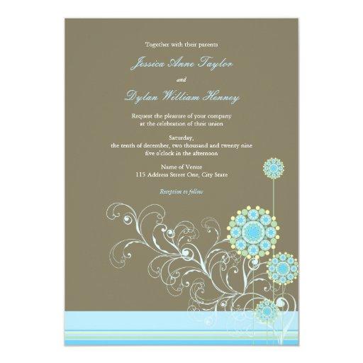 "Whimsical Snow Flower Swirls Blue Wedding Invite 5"" X 7"" Invitation Card"
