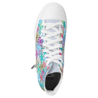 Whimsical Snowflake High Top Shoes Printed Shoes