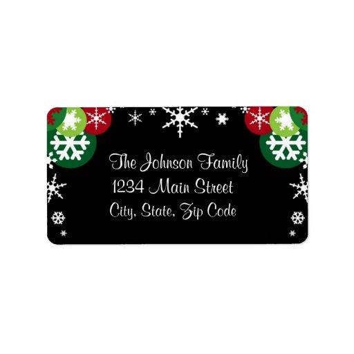Whimsical Snowflake Holiday address label