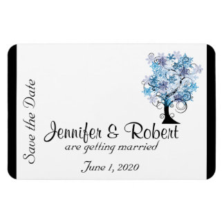 Whimsical Snowflake Tree Wedding Save the Date Magnet