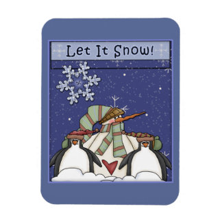 Whimsical Snowman and Penguins Magnet