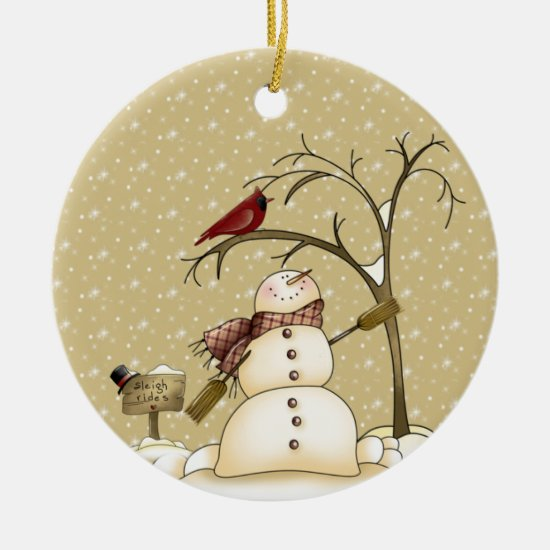 Whimsical Snowman and Red Bird Christmas Ceramic Ornament