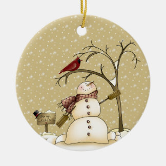 Whimsical Snowman and Red Bird Christmas Ornam Ceramic Ornament