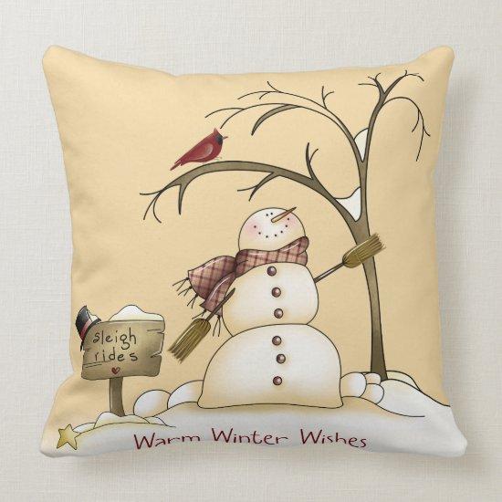 Whimsical Snowman Cardinal Sleigh Snow Tree Throw Pillow