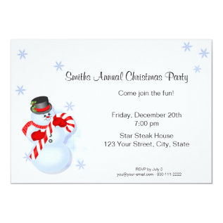 Whimsical Snowman Christmas Party Invitations at Zazzle