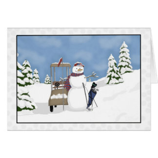 Whimsical Snowman Golf Card