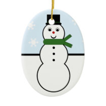 Whimsical Snowman Oval Ornament