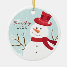 Whimsical Snowman Personalized Photo Ornament at Zazzle