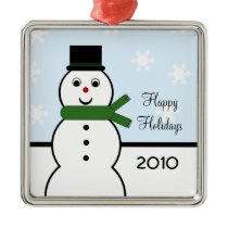 Whimsical Snowman Premium Square Ornament