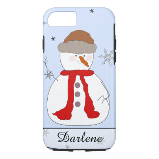 Whimsical Snowman, Red Scarf, Hat, Snowflakes Name iPhone 7 Case