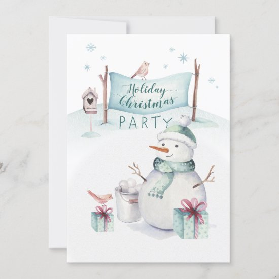 Whimsical Snowman Scene Holiday Christmas Party