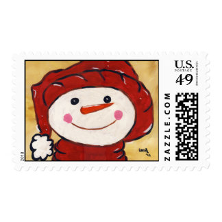Whimsical Snowman Stamp