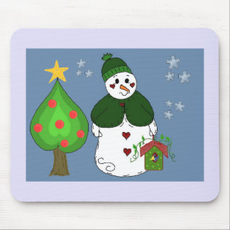 Whimsical Snowman With Birdhouse Mouse Pad