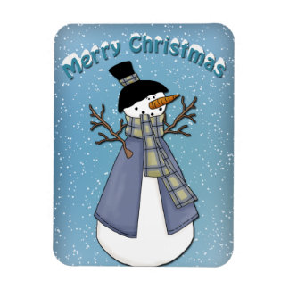 Whimsical Snowman with scarf Rectangular Photo Magnet
