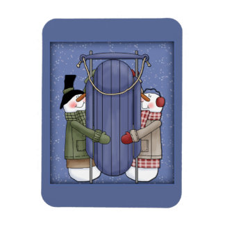Whimsical Snowman with sledge Magnet