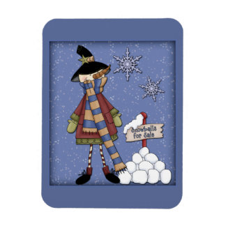 Whimsical Snowman with snowballs Rectangular Photo Magnet