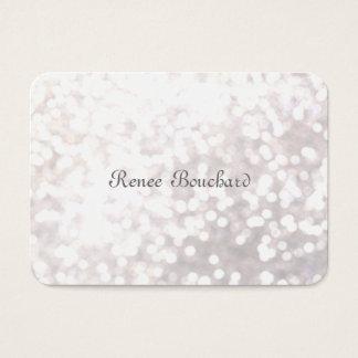 Whimsical Soft White Glitter Bokeh Chic Elegant Business Card