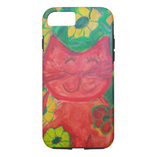 Whimsical Sophie the Happy Green Kitty iPhone 7 Case