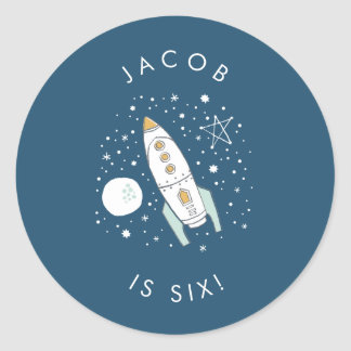 Whimsical Space Blue Birthday Stickers