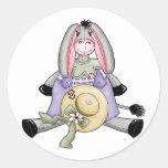 Whimsical Spring Donkey Classic Round Sticker